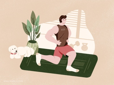 Workout plant exercise indoor dog yoga mat workout