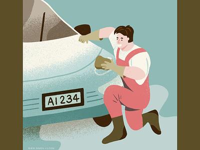 Car washing washing cleaning blue collar