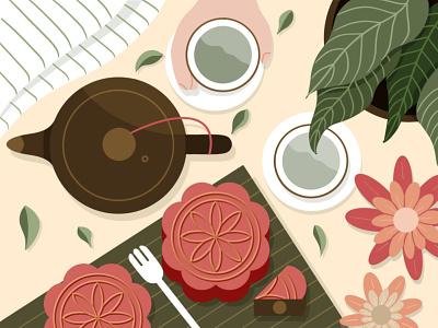 Mooncakes mid-autumn festival plant flowers pot tea moon cake flatlay flat-lay