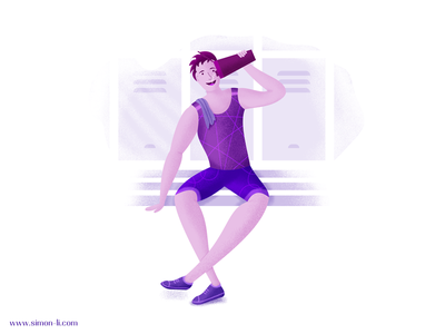 Thirsty vector illustration man fitness sports sit down rest water drink gym thirst