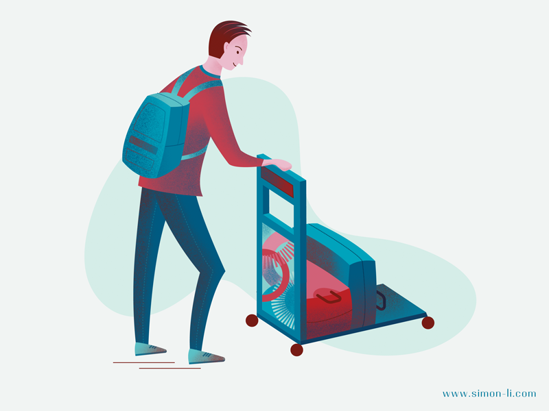 Arrival bag man illustration transport passenger luggage arrival travel