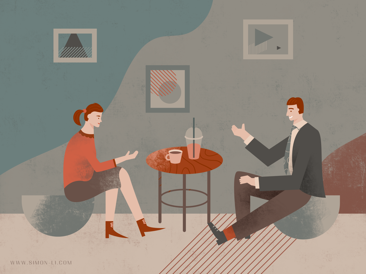 Coffee Chat chat coffee woman man vector illustration