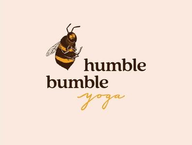 Humble Bumble Yoga logo yoga bees illustration typogaphy handlettering brand design