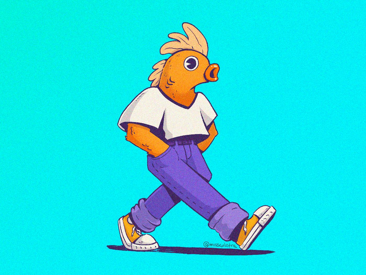 Human nº1 cartoon fish illustration