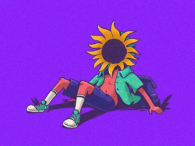 Human nº2 relax sunflower flower photoshop illustration cartoon