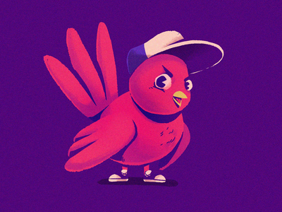Red Birb cap texture animal bird photoshop illustration cartoon