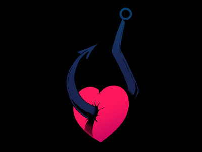 Inktober2019 - Bait love heart creative designs inktober2019 inktober design photoshop cartoon illustration