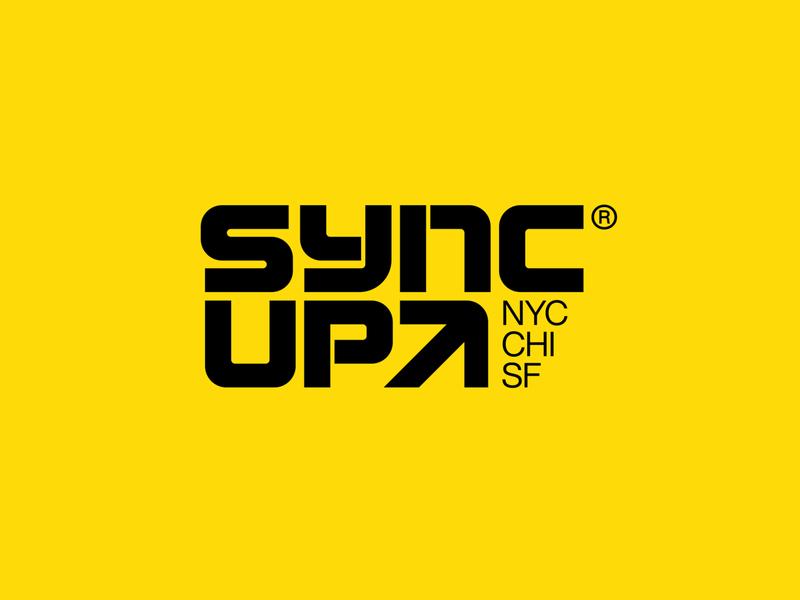 SYNC UP san francisco chicago nyc concert electronic music arrow custom typography logo