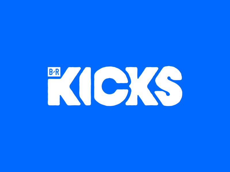 B/R Kicks bleacher report sports kicks lettering fashion shoes blue logotype logo