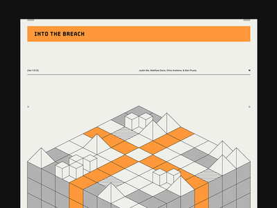 Into the Breach screenprint grid into the breach video games poster