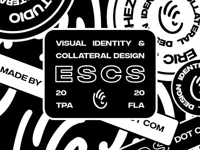 """Never felt so clear"" -E S C S escs madebysanchez madebyescs design creative studio logo designer retro badges badge design black and white"