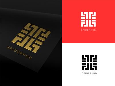 Spider Hub black red logo design design mordern logo emboss logos logodesign logotype logo spider