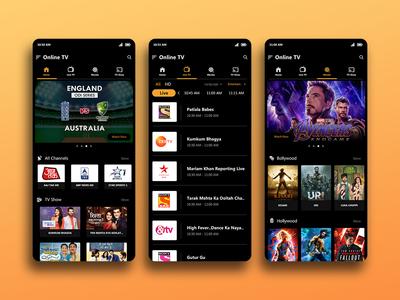 Online TV online tv online app tv app online android app design ui design android app ui application uiux uidesign
