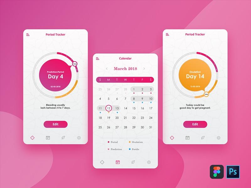 Period Tracker App ovulation calendar app pregnancy app period tacker app uxdesign uikit uiux uidesign ovulation calendar pregnancy period tacker