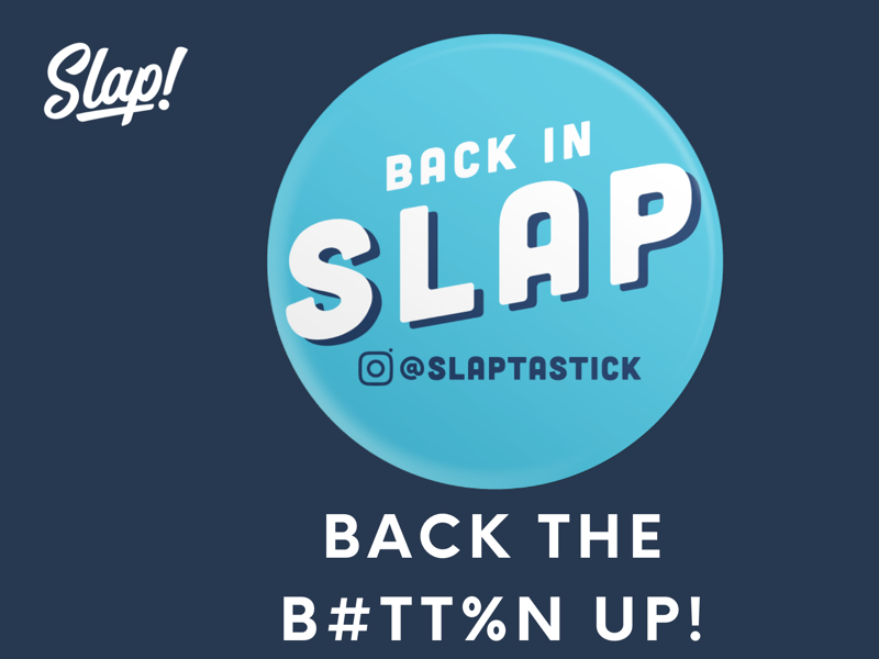 BACK IN SLAP! rockandroll subscription sticker stickers startup design slaptastick new badgedesign lettering type blue stickermule buttons branding illustrations