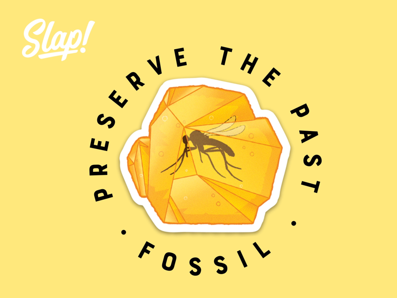 Fossils Preserve The Past dino tbt old mosquito yellow bugs artist designer design fossil dinosaur jurrasic slaptastick stickers instaart illustrator
