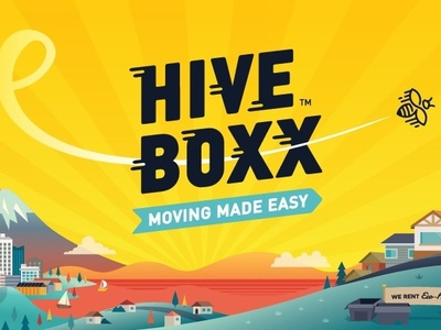 HiveBoxx | Moving Made Easy seattle on demand moving company moving bees bee logo typography illustrate artist vector brand illustrations art startup illustrator designer design branding illustration