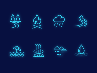 Nature Sound Icons for Sleepic drop lake waterfall beach river rain fire forest icon
