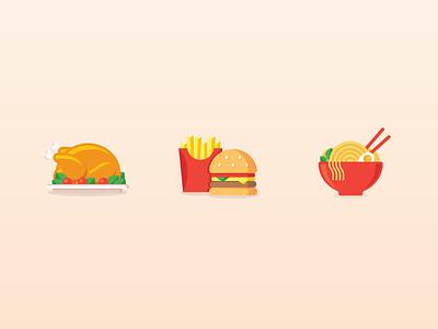 Food Icon chicken chips hamburger noodle ramen icon food