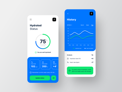 Hydrated Status mobile hydrated heartbeat water hydration mobile ui ux ui