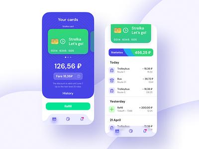 Strelka app redesign vector branding app design redesign ui ux designapp blue purple bank money history