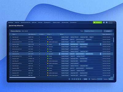 UI – Supervisory Control And Data Acquis darktheme dark blue vector illustration design table ui ux