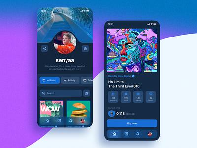 Mobile NFC app concept – OpenSea marketplace nft ui blue ux interface design