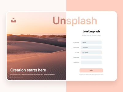 UI – Unsplash sign up page white picture photo button unsplash graphic design ux pink sign up ui daily dailyui