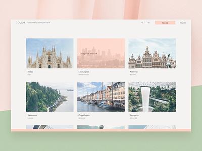 Website design – TOUSM / welcome to premium travel ux ui soft graphic design design green pink website