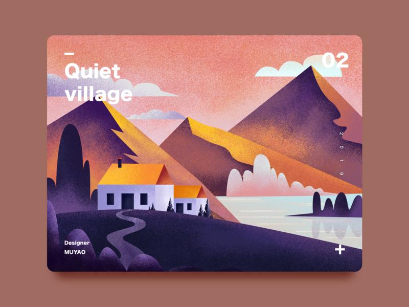 Quiet village-2 village quiet night website illustration design ui