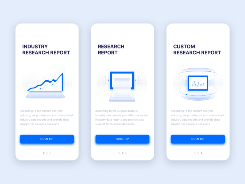 Industry Custom Research Report report data website app illustration design ui