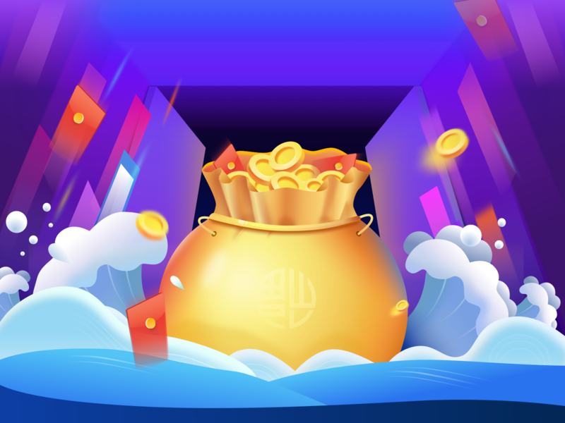 Congratulations on getting rich gold red envelope purple cute illustration design