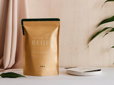 Beije design minimal packaging typography logo