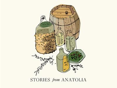 Olive Oil Stories typography vector art color design illustration