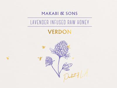 Makabi&Sons / Raw Honey flower bee honey label packaging branding logo typography illustration design
