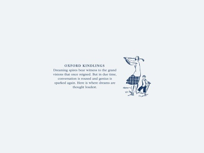 Oxford Kindlings vintage golf branding packaging typography design illustration