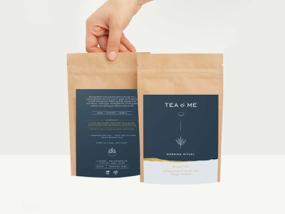 Tea&Me minimal illustration color pouch design logo design typography london tea packaging