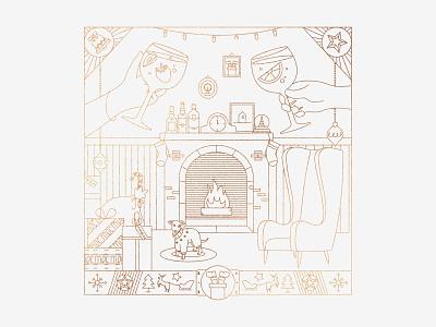Merry Line Art drink lineart christmas card christmas vector illustration