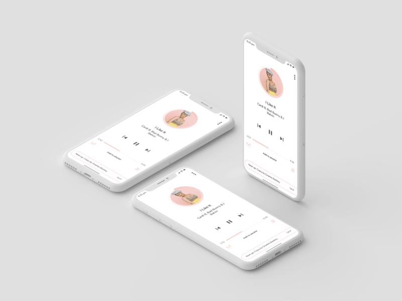 Music app simple clean ios mobile user userinterface mockup uichallange iphone white uidesign ui minimalist music app musicapp