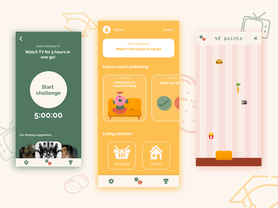 Learning app - Couch potato game application design gamification illustation learning app ui designslices