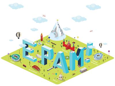 EPAM Family isometric texture perspective minimal city illustration flat