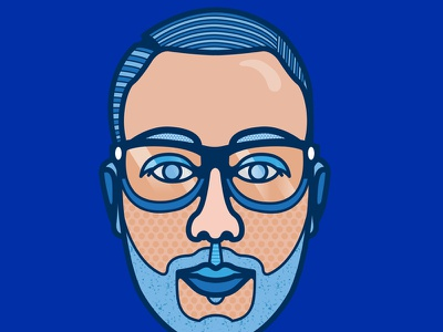 Self portrait klein blue pop portrait vector