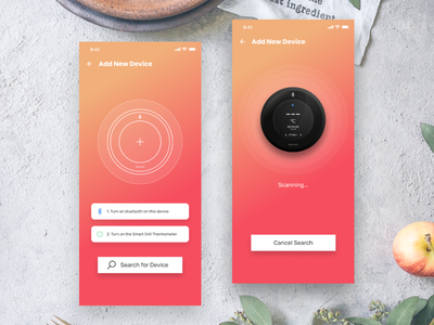 Smartgrill - New Device Pairing connection smart device smart home finding scanning connected devices connected bluetooth design ui app
