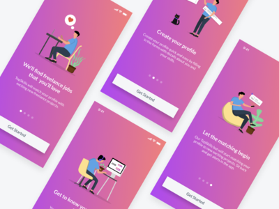 TopSkills - Onboarding Tour welcome tour welcome screen welcome welcome page ux onboarding branding vector illustration design ui ios app