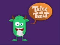 Trick or Treat Monster - Halloween Illustration