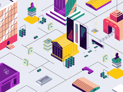 Isometric city vector flat bank city town building violet isometry violet cryptocurrency crypto money skyscrapers digital house logo vehicles isometry isometric graphic design design illustration