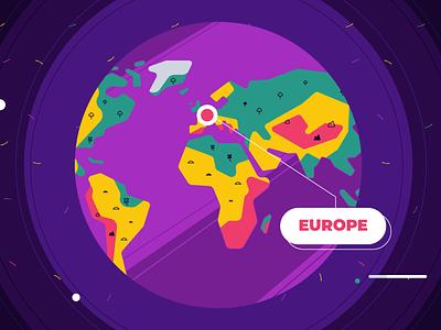 Around the Globe usa china europe universe earth space planet world map travel countries landmarks globe graphic design design illustration