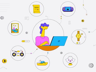 Online shopping vector illustration delivery online shopping online selling minimal website laptop flat characters vector characters vector characterdesign flat design character illustration graphic design