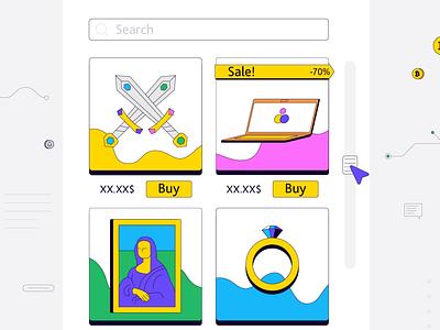Buy / Sell Goods Online shop minimal online shopping sell online sell buy goods website illustration website illustration kit payment shopping shopping app discount search illustration graphic design
