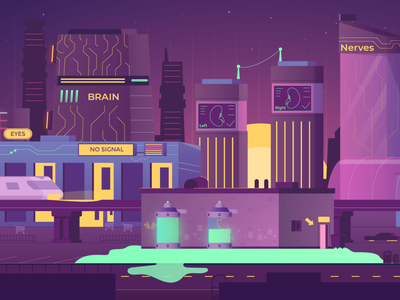 Medical City View medical gotham dark violet citycentre houses buildings cityscape town city isometric isomerty vector flat design illustration graphic design